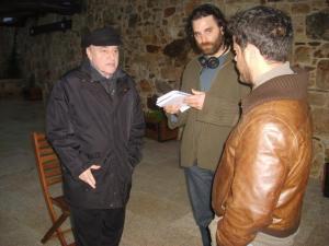 Naschy, el director Fernando Cortizo y Jorge Sanz.