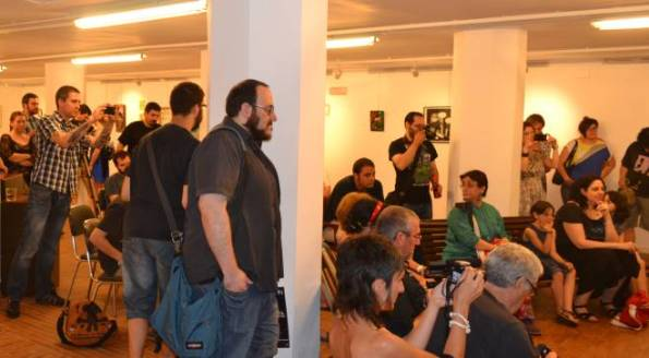 Un detalle de algunos asistentes a la rueda de prensa de Falardeau / Tyrannosaurus.