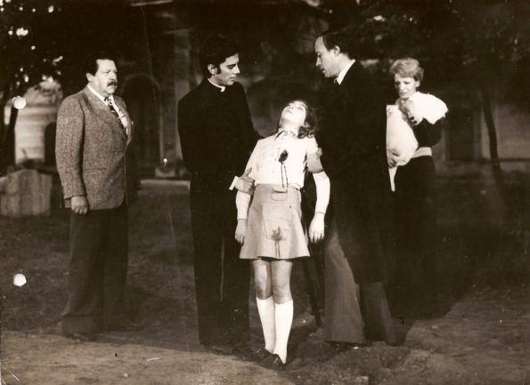 El bizarro final de la película con gran parte del reparto: Fernando Sancho, Julián Mateos, Marián, Ángel del Pozo y Lone Fleming (Archivo Marián Salgado)