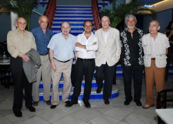 Jack Taylor durane la presentación del libro Spanish Horror junto al autor Víctor Matellano y José Ramón Larraz, José Lifante, Paul Naschy, Antonio Mayans y Saturnino García.