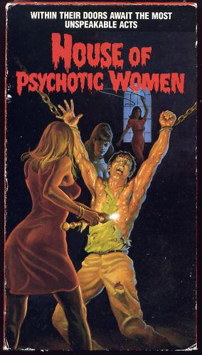Curiosa y totalmente imaginativa carátula americana de Los ojos azules de la muñeca rota (Allí House of Psychotic Women)