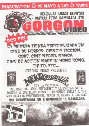 Flyer de la inauguración de la tienda Gorgon.