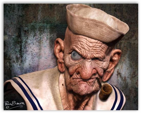 Una realista (y algo terrorífica) interpretación del personaje realizada por el genial Rick Baker.