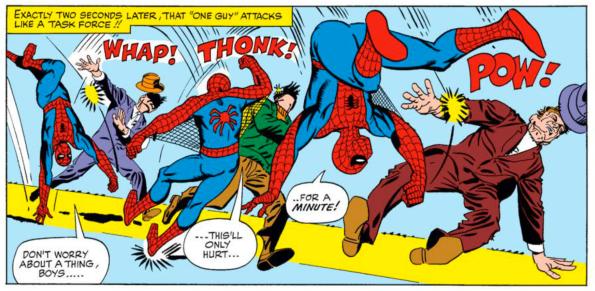 El Spiderman de Ditko, menos musculoso y base de la versión Ultimate,  modelo de la última encarnación cinematográfica