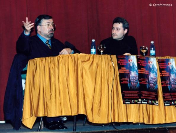 Con Narciso Ibáñez Serrador durante el homenaje en la V Semana de Cine Fantástico de Bilbao (1999).