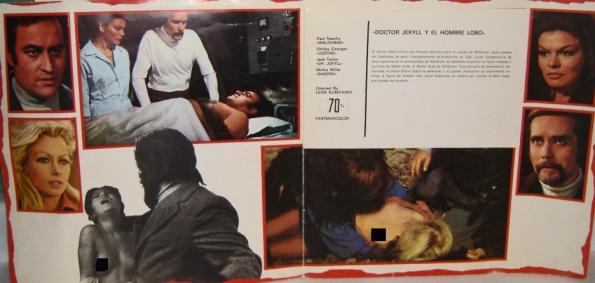 Libreto promocional para exportación con imágenes de dos de las escenas escamoteadas en la doble versión de Estados Unidos