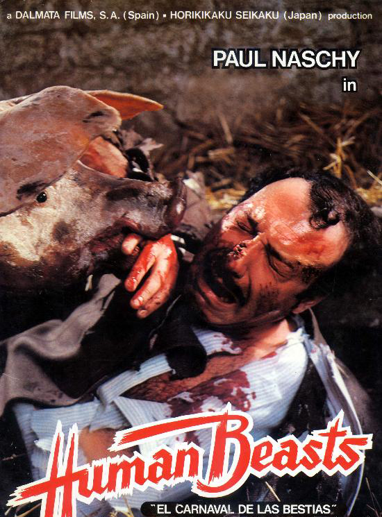 Pepe Ruiz atacado por los cerdos en la carátula de la guía internacional del filme.