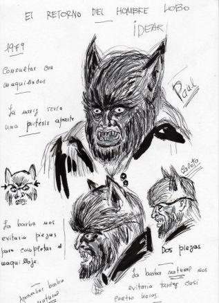 Diseños dibujados por Jacinto Molina para el maquillaje en El retorno del hombre lobo