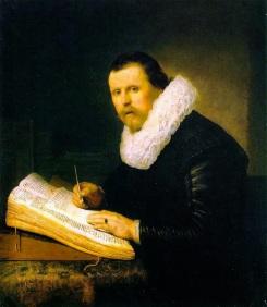 Rembrandt Retrato de un hombre en su escritorio 1631