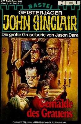 Una portada para la serie John Sinclair para la que el ilustrador ha utilizado reconocibles modelos: el Drácula de Christopher Lee; la momia y Frankenstein de Karloff; Waldemar Daninsky de Naschy y... también... ¿los hermanos Calatrava?