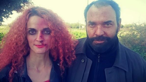 Aida Fernandez Pablos y Ricardo Pastor, en una pausa del rodaje maquillados por Lisa Violeta Make Up