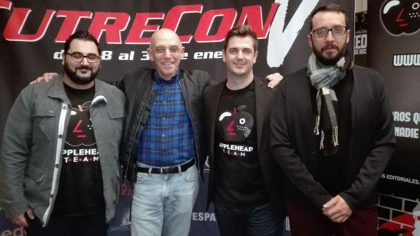 De izq. a dcha. : Pedro José Tena, Sam Firstenberg (¡!), Frank Muñoz y Emilio Díez durante la Cutrecpm de Madrid